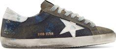Golden Goose: Grey Denim & Suede Superstar Sneakers | SSENSE