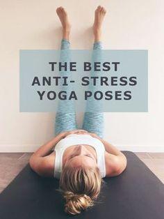 These six yoga poses for stress help you to relax! The first exercise is the Legs up the wall, one of my favorite poses for . Yoga Vinyasa, Bikram Yoga, Kundalini Yoga, Ashtanga Yoga, Yin Yoga Poses, Pilates Training, Yoga Pilates, Yoga Fitness, Fitness Tips