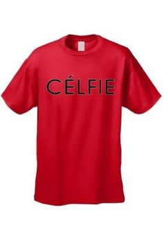 Men's It's All About You; Sexy French 'Celfie' RED Short Sleeve T-shirt (Medium)