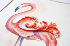 Always keep your head held high. #flamingolingo  #flamingo #paperquilling #quilling #paperart #paperart #paperlicious #paperlove #papercut #watercolor #illustration #artistoninstagram #tiffanyjoy
