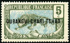 "Ubangi-Chari  1915 Scott 4 5c dark green & blue ""Leopard"" Stamps of Middle Congo Overprinted in Black"