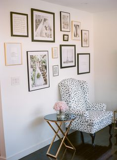Pattern chair that makes the whole room! http://www.stylemepretty.com/living/2016/03/18/getting-schooled-in-pattern-play-and-the-perfect-pop-of-color/ Photography: Rebecca Yale - http://rebeccayalephotography.com/
