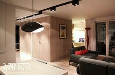 Widok z perspektywy kuchni, na salon i mały otwarty gabinet. Fornirowane ciepłym jasnym dębem ściany oraz drzwi.