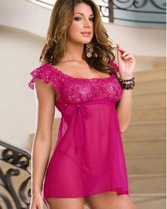 Mesh satin chemise in sequin details; bow tie in around the cups; macthing g-string included. Elegent pink bring you in a specail night.   www.lingerie-life.co.uk