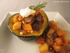 Carbonada Criolla-  This is a variation of the traditional Argentine Winter Stew. Normally served in a cooked pumpkin, this recipe uses Acorn Squash bowls. A little spicy and oh so nice!