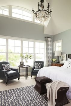 bedroom. Love wall color, love the high ceiling and the windows
