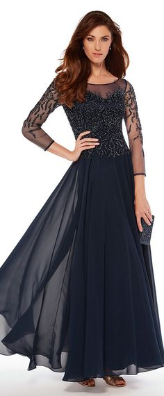 Popular Tulle & Chiffon Bateau Neckline 3/4 Length Sleeves A-line Mother Of The Bride Dresses With Beadings