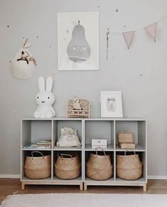 playroom design, kid playroom decor ideas, playroom organization for kid room, kid room decor, woven belly basket in cubby for toy storage for nursery design or girl room design Baby Room Boy, Baby Bedroom, Baby Room Decor, Girl Room, Nursery Room, Girl Nursery, Girls Bedroom, Playroom Decor, Playroom Organization