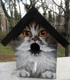 I must have one! funny birdhouse with a cat painted on it, the mouth of the cat is the hole for the bird to go in. Poor bird, mental confusion, but this is funny!