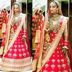 Sonam Kapoor's Wedding Red Lehenga - Wedding Lehenga of Sonam Kapoor. Sonam Kapoor's Wedding Lehenga in Red and Gold by Anuradha Vakil. Sonam Kapoor chose vintage textiles over spangled sequins on the wedding lehenga with vintage style jewellery. Anarkali, Red Lehenga, Indian Bridal Lehenga, Indian Bridal Wear, Lehenga Choli, Sari, Lehnga Dress, Indian Wear, Indian Celebrities