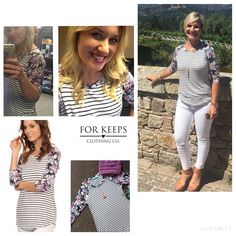 Our favorite BASEBALL TEE to date!! Love the Navy & Ivory STRIPESwith the FLORAL arms!! So cute and so flattering! Lightweight; rayon/spandex blend.    Slight flare cut around mid-section;    Small fits up to size 6.    Medium fits up to size 10.    Large fits up to size 14.    $25.50 with FREE SHIPPING in the US!! Int'l rates apply. | Shop this product here: http://spreesy.com/Forkeepsclothingco/195 | Shop all of our products at http://spreesy.com/Forkeepsclothingco    | Pinterest selling…