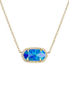 A delicate royal blue kyocera opal stone adds the perfect pop of color to the Kendra Scott classic Elisa Pendant Necklace.