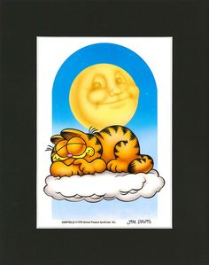 "Original airbrushed artwork from the early 80's of Garfield sleeping on a cloud.Artwork comes with an acid-free black mat and is signed by GARFIELD creator, Jim Davis.Artwork Dimensions: 7"" wide x 10"" tall"