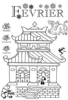 Thème de Février: La Chine, autour d'un album...mais pas que... - Activités pour la Grande Section Maternelle Chinese Crafts, Chinese Art, Colouring Pages, Coloring Books, China, Oriental People, New Year Printables, Chinese New Year Activities, New Year Art