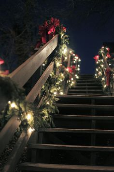 Lighted garland on a railing