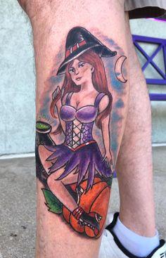 Witch Halloween Pumpkin Tattoo by Diane Lange at Moonlight tattoo Seaville NJ Moonlight Tattoo, Pumpkin Tattoo, Halloween Pumpkins, Witch, Tattoos, Tatuajes, Halloween Gourds, Witches, Japanese Tattoos