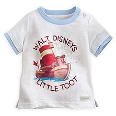Disney Little Toot Ringer Tee for Baby | Disney StoreLittle Toot Ringer Tee for Baby - Baby will give a hoot for our Little Toot tee with soft cotton slub fabric, embroidered lettering, contrast crew collar, and double-up short sleeves.