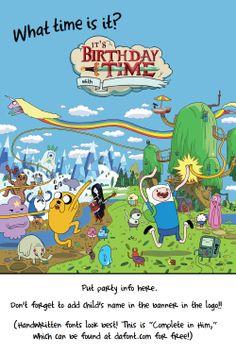 FREE TEMPLATE!  Adventure Time Birthday Invitation