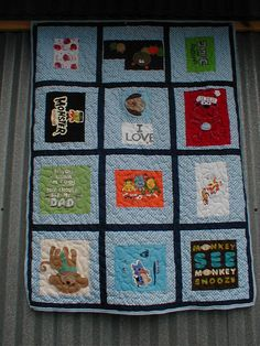Baby Blue Tee-Shirt quilt, this one is for sale or I can use your own tee shirts to make one just for you.