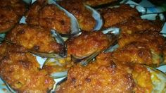 """Spicy Crabbed Mussel's! """"My favorite snack to make for guest's. This matched with beer, is a match made in heaven""""  @allthecooks #recipe"""