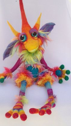 *NEEDLE FELTED ART ~ Snow Cone Goblin- by Tanglewood-Thicket