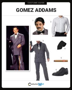 The best costume guide for dressing up like The Addams Family patriarch, Gomez Addams who starred in the television show and movie. Dress up like The Addams Family patriarch as Gomez Addams who starred in the television show and movie. Halloween Costumes Adams Family, Family Costumes, Halloween Kostüm, Halloween Makeup, Halloween Couples, Group Halloween, Homemade Halloween, Group Costumes, Morticia And Gomez Costumes