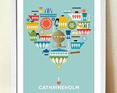 Set of 3, Cathrineholm Kitchen Mid Century prints, 8 x 10 (A4), Artists Giclee prints. $35.00, via Etsy.