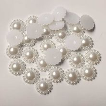 30 pieces/lot 12mm WHITE Half plastic sunflower Pearls Gems Craft Decoration DIY Laptop B031(China (Mainland))