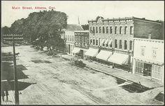 Black and white postcard Main Street, Athens, Charleston, Maine, Black And White, Outdoor, Outdoors, Black N White, Black White