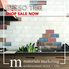 """Gesso Tile! This double-fired ceramic, with manual glazing intervention, will add a contemporary Urban flair to your design. Our wide selection of 4"""" X 8"""" Gesso tiles, available in 18 different color options, are on Sale Now for a limited time. Visit www.Materials-Marketing.com to pick yours out today!  #ceramictiles #handcrafted #kitchendecor #kitchenrenovation #kitchendesign #kitchenremodel #kitcheninspiration #kitchenideas #kitcheninspo Kitchen Decor, Kitchen Design, Stone Tiles, Backsplash, Your Design, Kitchen Remodel, Manual, Urban, Ceramics"""