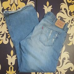 """Must have..LEVIS Vintage biker jean mens These are a pair of Levi Strauss low boot cut Levi jeans vintage biker look. Worn maybe 3 times in good condition regardless of the holes LOL men's inseam 30"""" Levi  Jeans Boot Cut"""