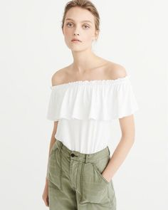 94a8fdda0305a8 Ruffle Off-The-Shoulder Top. Cute summer outfit light and airy for hot