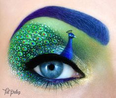 Die Augen als Leinwand - Pfauenauge (Bild: Tal Peleg) Super creative makeup looks that individuals l Peacock Eye Makeup, Eye Makeup Art, Eye Art, Makeup Artistry, Glam Makeup, Makeup Eyeshadow, Eyeshadow Ideas, Fairy Makeup, Makeup Style