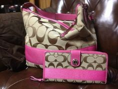 Coach Pink Signature hobo purse and matching wallet 100% Authentic AND I HAVE IT!!!!