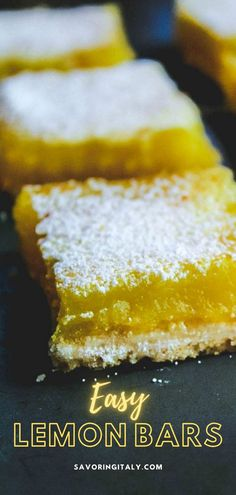 Easy Lemon Bars- quick and easy to make, with a few simple ingredients. The bars start off with a simple to make shortbread crust a not too sweet or tangy thick lemon curd filling on top. This classic lemon bar recipe is the best way to use up fresh lemons! All they need is a light dusting of powdered sugar. #easylemonbars #lemonbars #lemon #bars #sweets #dessert #sweets #savoringitaly Strawberry Bars, Lemon Curd Filling, Shortbread Crust, Fun Desserts, Awesome Desserts, Lemon Bars, How To Squeeze Lemons, Fresh Lemon Juice