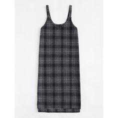 V Neckline Plaid Pinafore Dress (¥1,575) ❤ liked on Polyvore featuring dresses, plaid dress, tartan plaid dresses, v-neck dresses, pinafore dress and v neck dress