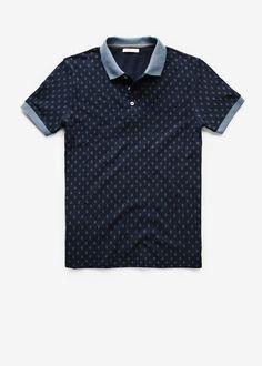 Rhombus print piqué polo shirt - Man  d43d33caec82f