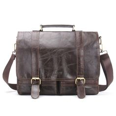 d8817e857ba95 Men Retro Briefcase Business Shoulder Bag Leather Handbag Bag Computer Laptop  Messenger Bags Men s Travel Bags