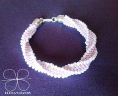 #Bracciale tubolare a #uncinetto colore lilla e perline bianche #handmadejewelry