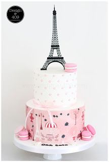 Kiwi Cakes - Eiffel tower cake from Stacey at Design@409. Using wafer paper from Kiwicakes. Stacey's Eiffel Tower topper is available through Kiwicakes, or directly from her website. $35