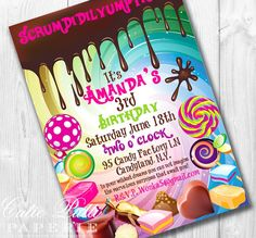 Fun and colorful invitation for your Willy Wonka theme birthday party.  Other unique party supplies include custom favors and cake decorations.  For your tableware, there is a colorful Sugar Buzz party line.