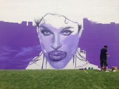 Prince mural in progress at Chanhassen Cinema | Local Current Blog | The Current from Minnesota Public Radio
