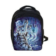 Howling Winter Wolf Backpack For Girls Boys Children Kindergarten Backpacks  School Bags Students Kids Husky Bag Bookbag Mochila f00f3410fd14d