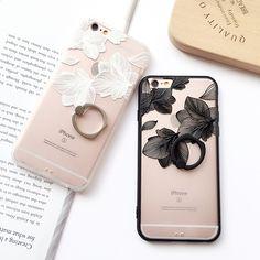 Anillo de agarre de encaje patrón de flores case para iphone 6 6s plus 7 7 más duro contraportada casos media subió capa fundas
