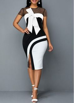 Dresses For Women Latest African Fashion Dresses, African Dresses For Women, Women's Fashion Dresses, Cute Dress Outfits, Classy Work Outfits, Elegant Dresses Classy, Classy Dress, Mesh Panel, Sheath Dress