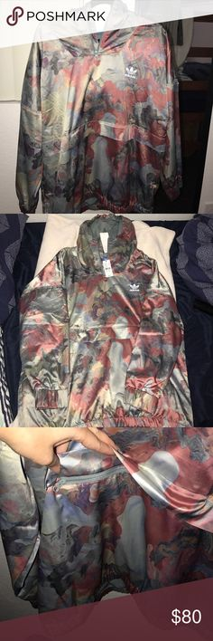 74efd192d3584 NWT Adidas Original Pastel Camo Satin Hoodie Brand new! All three jackets  are size large but we're listed as medium because it runs a bit small so  can fit ...