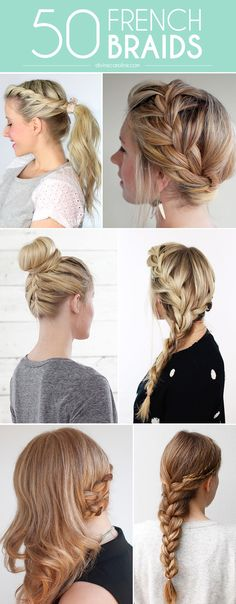 Fabulous French Braid Hairstyles to DIY 50 braided hairstyles. Braids can be used for practically any occasion, and are perfect to top off a braided hairstyles. Braids can be used for practically any occasion, and are perfect to top off a look. French Braid Hairstyles, My Hairstyle, Pretty Hairstyles, Easy Hairstyles, Wedding Hairstyles, Summer Hairstyles, Going Out Hairstyles, Wedding Updo, Wedding Bride