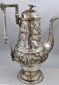 Britannia Fine Antique Silver Hollowware page one includes teapots water pitchers vases candlesticks julep cups sauce boats cocktail shakers Vintage Silver, Antique Silver, Silver Teapot, Teapots And Cups, Teacups, Bronze, Tea Strainer, Tea Caddy, Silver Coins