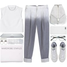 Grau by annsharif on Polyvore featuring Monki, TIBI, Hansel from Basel, adidas Originals, Rebecca Minkoff, RP/Encore, Juicy Couture, school, simpleoutfit and whitetanktop