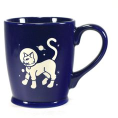 Astronaut Cat Mug Navy Blue Large Ceramic Space Coffee Cup ($25) ❤ liked on Polyvore featuring home, kitchen & dining, drinkware, drink & barware, grey, home & living, mugs, cat coffee cup, wizard of oz coffee mug and wizard of oz cups